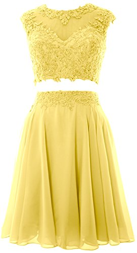 MACloth Women Vintage 2 Piece Prom Homecoming Dress Lace Wedding Party Gown Canary