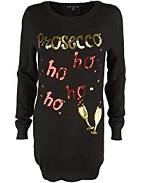 Heart & Soul Women's 'Prosecco' Funny Knitted Sequin Christmas Jumper Top