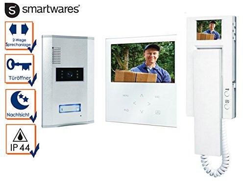 Video Türsprechanlage weiß, 2x Inneneinheit mit Touchscreen und Monitor