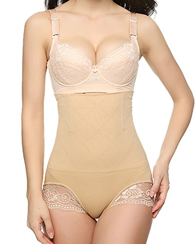 MISS MOLY Miederslip Mit Bauch-weg Effekt Damen Push-up Effekt Taile Hintern Figurformende Shapewear Schwarz/Beige Beige