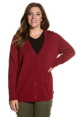 Ulla Popken Femme Grandes tailles Cardigan Femme Automne Hiver à Manches Longues Casual en Tricot Deux Poches Sweater Vester Top Manteau 700334 rouge foncé
