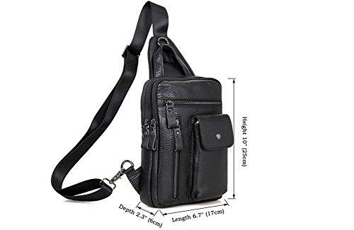 Genda 2Archer Leder Brusttasche Modische Crossbody Tasche Schwarz