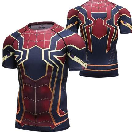 Spiderman H&m Kostüm - Kompression T-Shirt 3D-Drucker Spiderman Kurzarm Laufen Sport T-Shirt Fitness Kostüm/Fitnessstudio/Radfahren/Training Cosplay Männer Tops Schnell Trocknend H-M