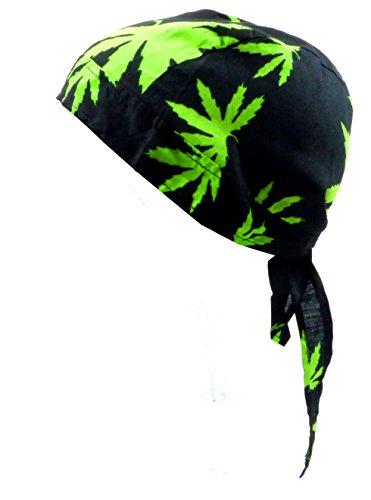 Kopf-Tuch Herren Damen Kopftuecher schwarz mit Motiv Hanf Kinder Junge Mädchen Kopftücher black Cannabis green Bandana