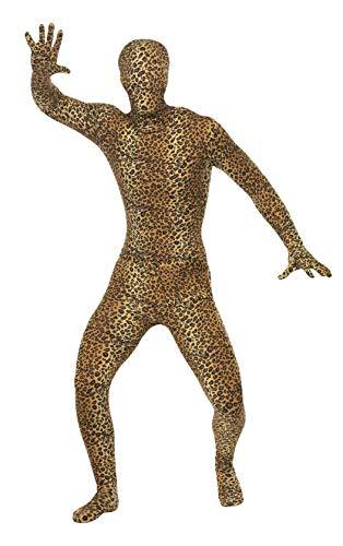 Second Kostüm Skin - Smiffys, Herren Second Skin Kostüm mit Leopardenmuster, Ganzkörperanzug mit Bauchtasche, Größe: L, 24283