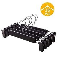 VEHHE Trouser Hangers Skirt Hangers, 16 Pack Black Plastic Dress Trousers Hanger with Non-Slip Big Clips and 360 Rotatable Hook (Black)