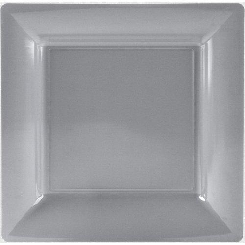 Plastella 023740GRISX12 Assiette, PS, Gris, 30,5 x 30,5 x 3,5 cm