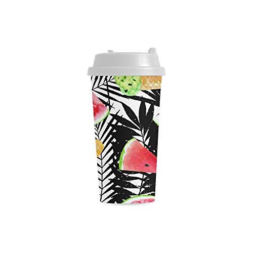 Sommer Wassermelone mit Blatt kundenspezifischem personalisiertem Druck 16 Unze doppelwandiger Plastikisolierkunstsport Wasser Flaschen Schalen Pendler Reise Kaffeetassen für Studenten Frauen Milch
