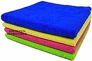 SOFTSPUN Microfiber Cleaning Cloths, 20x30cms 4 pcs Towel Set 340 GSM Multi-color. Highly Absorbent, Lint and