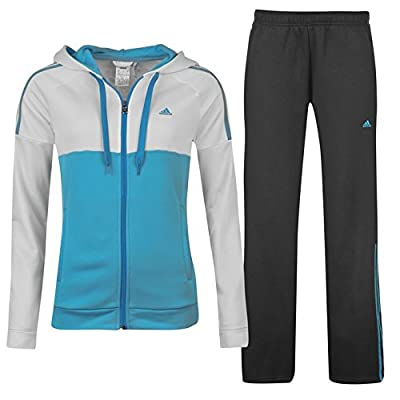 adidas Womens Ladies 3S Full Tracksuit Set Hoodie Top And Jogging Bottoms Pants
