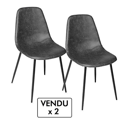 Lote de 2 sillas vintage - Estilo Industrial - Color GRIS envejecido