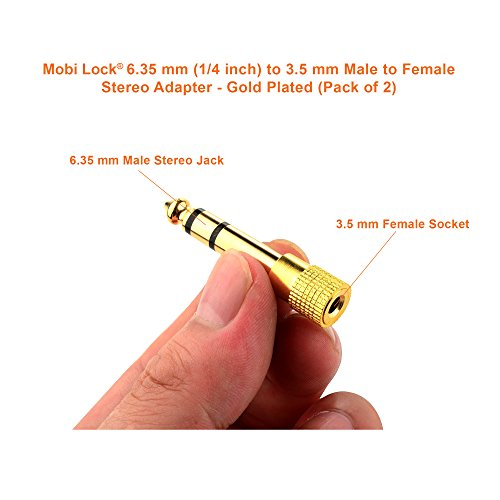 Adaptador Estéreo Macho a Hembra de Mobi Lock con Base Dorada de 6 3mm (1/4 pulgadas) a 3 5mm (1/8 pulgadas) y Conector de Audio (Set de 2)