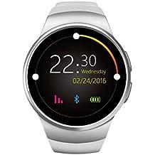 VOSMEP Reloj Inteligente del Negocio con Bluetooth 4.0 Smart Watch Muñeca Inteligente Pulsera Podómetro Deporte Monitor de Pulso Cardiaco con Pantalla Táctil Cámara para Apple/iOS, Samsung /Android, HTC LG Huawei Xiaomi soporte SMI/TF Teléfonos Inteligentes (Blanco) SM29