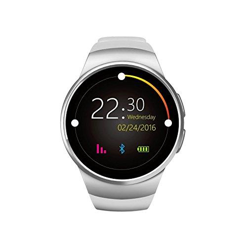 VOSMEP affari intelligente Watch Phone con Bluetooth 4.0 di Smart Orologio Wrap Telefono Sport Bracciale cardiofrequenzimetro con lo schermo fotocamera touch per Apple / iOS, Samsung / Android, HTC, supporta SMI / TF Smartphone (Bianca) SM029