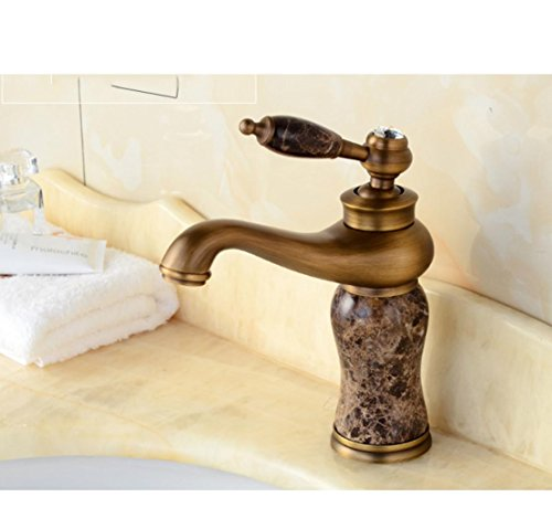 SUN-Stile Europeo lucidato olio in ottone singola maniglia rubinetto del bagno lavandino piombo lavabo Tap, finitura spazzolata , coffee