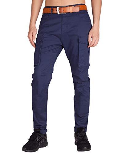 Italy Morn Pantaloni Chino Cargo Uomo Moda Confortevole da Lavoro L Blu Navy