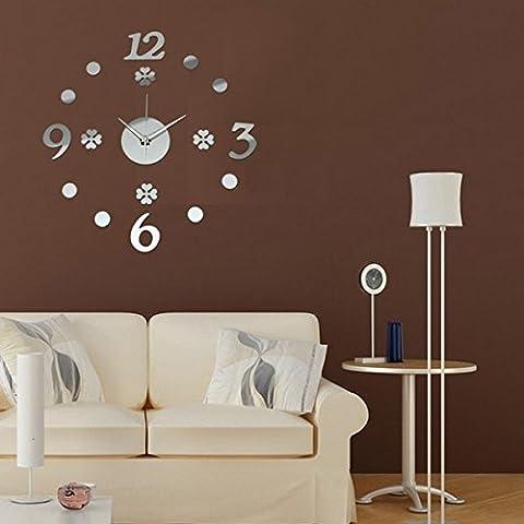 Etiqueta engomada del DIY espejo acrílico dígitos número reloj de pared Home Office Decor