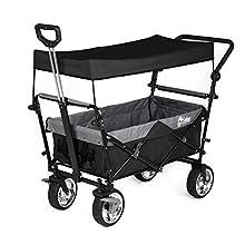 Sekey Chariot Pliant avec Toit Chariot de Transport avec Freins Chariot de Plage Chariot de Jardin Pliable pour Tous Les terrains, Noir