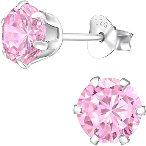 EYS JEWELRY Damen-Ohrstecker rund 925 Sterling Silber mit Zirkonia Rosa-Pink 6 mm Damen-Ohrringe im Schmuck Etui (Ohrring-etui)