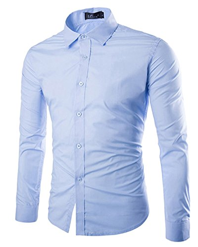 Dianshao uomo casual tinta unita camicia slim fit manica lunga bluse azzurro chiaro m