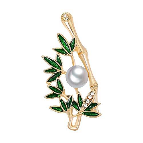 Jiacheng29Fashion Strass Emaille Bambus Damen-Brosche Pin Kleid Pullover Schal Ornament-Golden