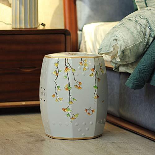 Shoe stool LUYIASI- Amerikanischen Keramik Drum Hocker Chinesischen Stil Wohnzimmer Veranda Dekorative Hocker Handgemalte Pfau Schuhe Hocker (Farbe : B) Pfau Keramik