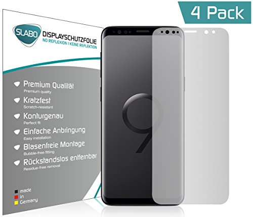 Slabo 4 x Displayschutzfolie für Samsung Galaxy S9 Displayfolie Schutzfolie Folie Zubehör (verkleinerte Folien, aufgrund der Wölbung des Displays) No Reflexion MATT - entspiegelnd Made IN Germany