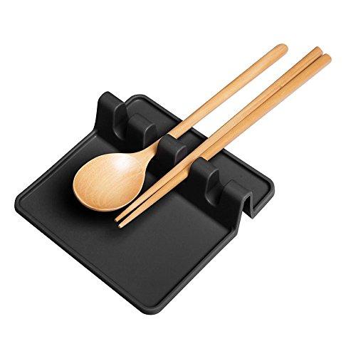 AOLVO Utensil Rest, Cucchiaio in Silicone Cottura Heat-Safe Antiscivolo Porta Posate da Cucina con Accessori (Grigio) Nero
