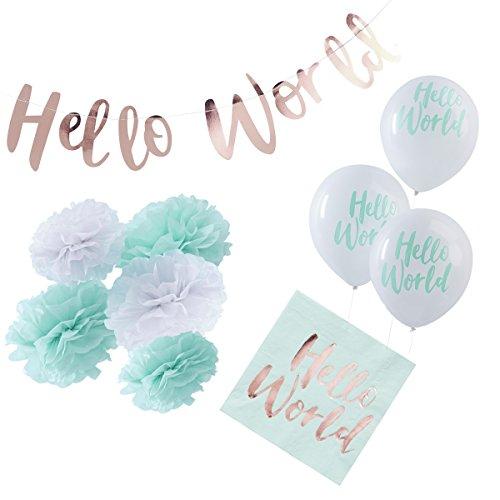 in due 36-tlg. Partyset \'Hello World\' Geburt Babyparty Baby Junge Mädchen mint - Deko Set Girlande, Pompoms, Luftballons & Servietten