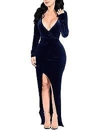 8971ab2476 Mujer Vestidos Fiesta Bodas Manga largas V-Cuello Terciopelo De Coctel  Partido Vestido