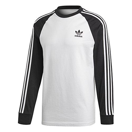 adidas Herren 3-Stripes Longsleeve, White/Black, XL -