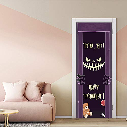 libby-nice Dämonen Lächeln Scary Effekt Halloween Tür Aufkleber wasserdichte Tür Dekorative Abziehbilder Selbstklebend Wohnkultur Wandbild Dark Cartoon77X200Cm