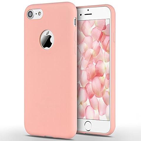 Coque iPhone 7, Yokata Etui iPhone 7 Solide Mat Anti-Fingerprint Case Housse Étui Soft Doux TPU Silicone Flexible Backcover Ultra Mince Coque - Rose