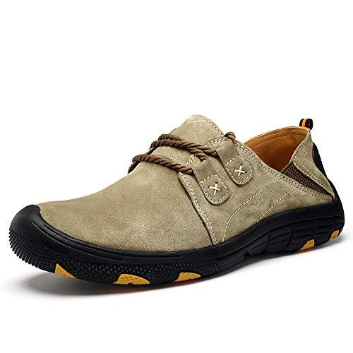 Asifn Herren Mokassins Leder Schuhe Fahren Driving Freizeitschuhe Wanderschuhe Halbschuhe(braun,46 EU,28CM Ferse zum Zeh (Flat Feet Kleid Schuh)