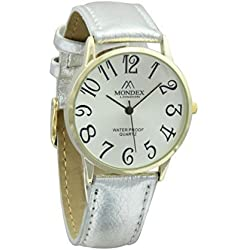 Unisex Gold Plated Mondex / Azaza / MABZ PU Leather Strap Watch (Silver Strap With White Dial)