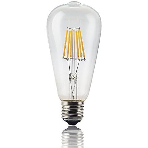 JYP 6W Vintage LED Filamento Lampadina, ST64 Edison Stile, Rimpiazzare 60w lampadina a Incandescenza, Soft White (2700K), 85-265VAC, E27 Media Usa Base per il ristorante, Casa, Sala lettura, Ufficio (Non Dimmerabile)
