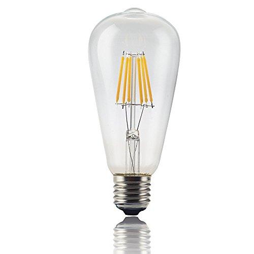 Magicmoon 6W Vintage LED Filamento Lampadina, ST64 Edison Stile, Rimpiazzare 60w lampadina a Incandescenza, Soft White (2700K), 85-265VAC, E27 Media Usa Base per il ristorante, Casa, Sala lettura, Ufficio (Non