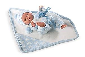 Llorens 26269-Recién Nacido Baby muñeca con pequeñas Techo, 26cm, Color Azul