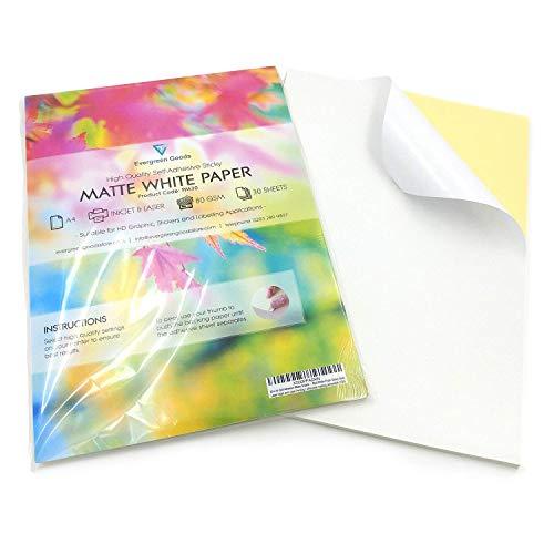 Evergreen Goods 30 Hojas A4 Autoadhesivas Mate - Acabado Blanco Mate Adhesivo Etiqueta Trasera Impresora de inyección de Tinta y láser/Silueta Compatible (FBA)