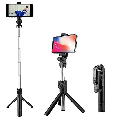 Bastone selfie bluetooth, aomtro estensibile selfie stick treppiede con bluetooth remote shutter per iphone x 8 plus 7 plus 6s plus se 5s samsung huawei e smartphone 3.5-6 inch, rotazione di 360°