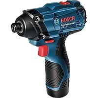 Bosch Professional GDR 120-LI Atornillador de Impacto a batería (2x1,5Ah Case) /06019F0001, Azul