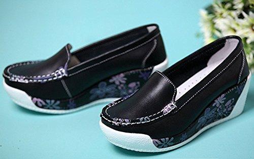 Cystyle Leder mit Mustern Plateau Keilabsatz Loafers Slipper Freizeitschuhe Schwarz