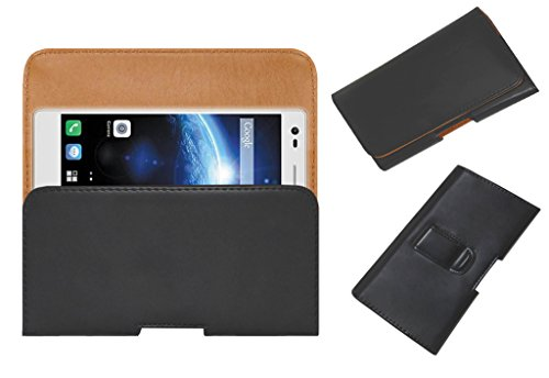 Acm Belt Holster Leather Case For Lava Iris X5 4G Mobile Cover Holder Clip Magnetic Closure Black
