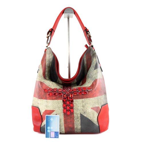 Borsetta borsa da donna borsa shopping bag donna in ecopelle finta pelle LK6065 Rot
