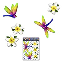 JAS Stickers® DRAGONFLY ANIMAL FLOWER Car Sticker - White - Frangipani Plumeria Small Vinyl Decal Pack For Laptop Luggage Bicycle Bike Caravans Van Camper Trucks & Boats - ST00064WT_SML