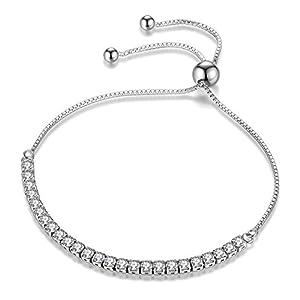 JDGEMSTONE verstellbares Armband, Swarovski-Kristalle, Damenschmuck, versilbert, Geschenk für Frauen