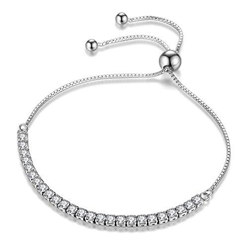 JDGEMSTONE Verstellbares Armband, Swarovski-Kristalle, Schmuck für Frauen, 925er-Sterlingsilber