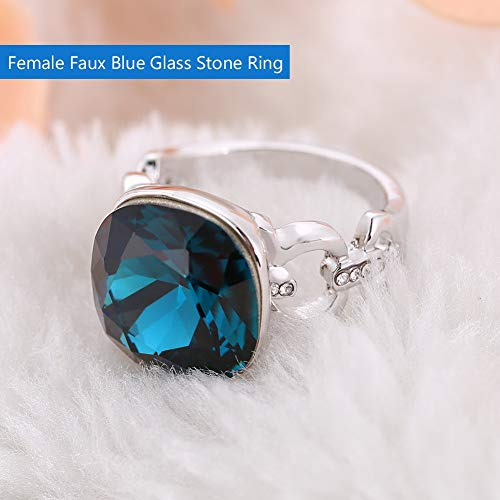 b959c5fa261a Wanbor Women  s Vintage Stainless Steel Statement Ring Celtic Blue Glass  Class Jewelry Decoration