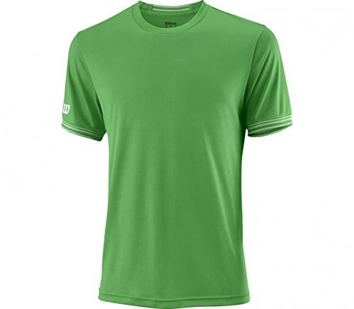 Wilson t-shirt sportiva da uomo, m team solid crew, poliestere, verde/bianco, taglia: m, wra765303