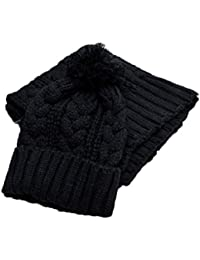 Womens Winter 8 Shape Hats Scarf Set Fashion Durable Winter Knitted Beanie Hat for Women Girls